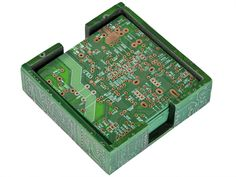 Set of Six Recycled Motherboard Coasters in Caddy - Relique