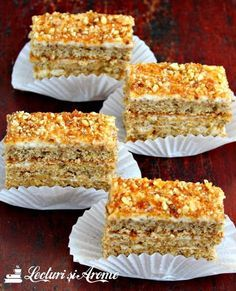 Prajitura Krantz cu nuca si caramel (reteta veche) - Lecturi si Arome Krantz cake - old recipe, inspired by the cookbook of the famous Silvia Jurcovan. Cake with walnut and caramel Sweets Recipes, Easy Desserts, Cookie Recipes, Delicious Desserts, Yummy Food, Romanian Desserts, Romanian Food, Krantz Cake, Homemade Sweets