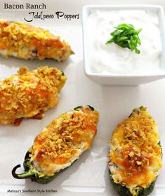 Bacon Ranch Jalapeno Poppers: Leave off the Dorito crumbs from the top, use soy free dressing.