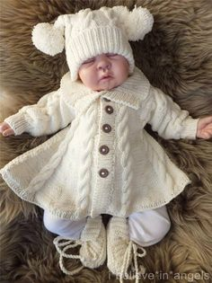 knitting pattern ksb 60 mondays child a matinee coat trousers hat and slippers set 0 3 months size - PIPicStats Diy Crafts Knitting, Knitting For Kids, Baby Knitting Patterns, Baby Patterns, Knitting Projects, Free Knitting, Crochet Jacket, Knit Or Crochet, Crochet Hats
