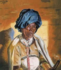 """dynamicafrica: """"Traditional Portraits by South African Artist George Pemba. Born Milwa Mnyaluza """"George"""" Pemba in Korsten, Port Elizabeth, in Pemba is most known for his paintings depicting. African American Artist, American Artists, African Culture, African History, Social Realism, South African Artists, Africa Art, Art Database, Women Smoking"""