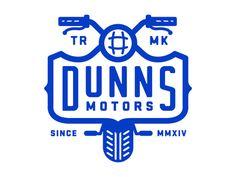 Dunns by Nick Slater Design Logo, Badge Design, Graphic Design Typography, Branding Design, Art Design, Packaging Design, Logo Inspiration, Motor Logo, Motorcycle Logo