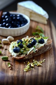 Pickled blueberries, brie, basil and pistachios
