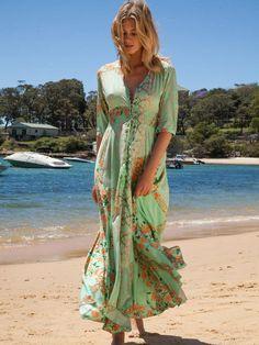 Chiffon Maxi Dress Floral Print Green Sleeved Button Oversized Long Dress For Women Floral Chiffon Maxi Dress, Maxi Dress With Sleeves, Half Sleeves, Maxi Dresses, Summer Dresses, Chic Outfits, Fashion Outfits, Women's Fashion, Prom Outfits