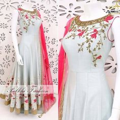 White fusing covered banglori silk embroidered gown - Gown : fusing covered banglori silk in Indian Fashion Dresses, Indian Gowns Dresses, Dress Indian Style, Indian Designer Outfits, Indian Outfits, India Fashion, Pink Fashion, Long Dresses, Indian Wear