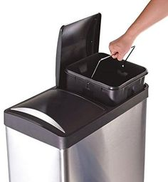 Two Compartment Trash Recycle Bin Sixteen Gallon Stainless Steel Separate Sorter Recycling Bin Storage, Trash And Recycling Bin, Recycling Containers, Trash Bins, Storage Bins, Storage Ideas, Trash Day, Recycling Information, Kitchen Trash Cans