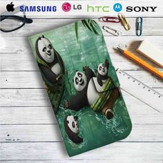 Kung Fu Panda Swimming Family Leather Wallet iPhone 4/4S 5S/C 6/6S Plus 7| Samsung Galaxy S4 S5 S6 S7 NOTE 3 4 5| LG G2 G3 G4| MOTOROLA MOTO X X2 NEXUS 6| SONY Z3 Z4 MINI| HTC ONE X M7 M8 M9 CASE