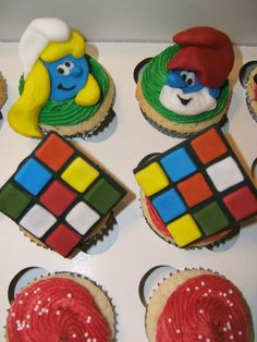 Smurfs and Rubix Cubes love these!  cupcakes by Sweet Fairy Desserts