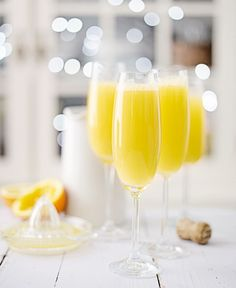 Mimosa cocktails in tall glasses Cocktail Drinks, Cocktail Recipes, Prosecco And Orange Juice, Classic Victoria Sandwich, Classic Victoria Sponge, Buck's Fizz, Victoria Cakes, Brunch, Christmas Entertaining