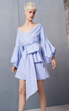Mana Balloon Sleeve Off the Shoulder Blue Bow Dress by Alexis | Moda Operandi