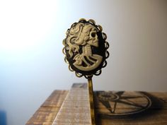 Miss Lolita Skeleton Cameo Hair Pins in Gray and by vintagerust, $8.00