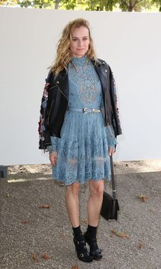 Also at Elie Saab, the recently-single Diane Kruger in a sweet lace and tough leather combo.