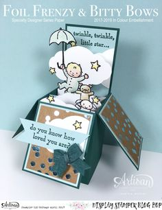 Box card by Martha: Moon Baby, Foil Frenzy dsp, Pretty Label Punch, Bitty Bows - all from Stampin' Up!
