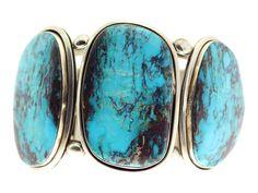 Ben Begaye, Bracelet, Stabilized Bisbee Turquoise, 3 Stone, Navajo Made