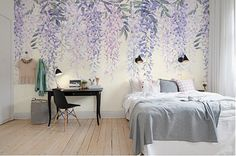 Write to us by click Request a custom order to get special offer. Order Process refer to the last picture. Customizable To Fit Your Walls size! Just Tell Us The Total Width & Height You Need. Let Us Arrange It For You! This Purple Wisteria wallpaper is Specially Designed and Custom Made