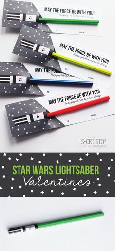 Star Wars Lightsaber Valentines Valentines Diy, Starwars Valentines Cards, Free Valentine Cards, Valentines Day Decorations, Printable Valentine, Funny Valentine, Kids Crafts, Crafts For Teens To Make, Star Wars Classroom