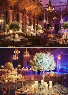 The purple lighting and endless candle lights makes the Gold Room of the Breakers hotel so glamorous!