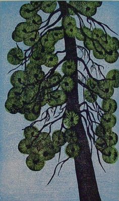 Artist: Viza Arlington Title: Ponderosa Pine II moku-hanga (Japanese woodcut method) on Rives lightweight paper watercolor and sumi ink pape...