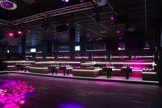 Night club L'imprevu - Design with white NANOLIGHT luminous strip   www.nanolight.fr