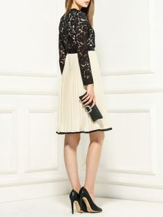 Pleated Lace Panel Midi Dress