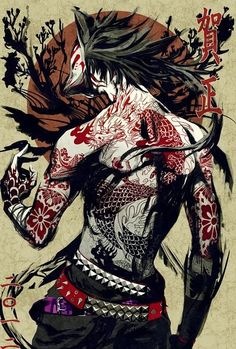 Highly detailed illustration of a male kitsune, this image contains three themes from japan also, yakuza style tattoos, the rising sun in the background and the kabuyki mask  (http://nforum.ogplanet.com/rf/forum_posts.asp?TID=595012, 2014)