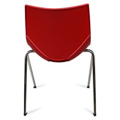 Color: Red Shell chairs by Italian designer Angelo Pinaffo are lightweight, stackable, and durable with a unique and elegant design. Eight designer colors from beige to bold orange make these the perfect chairs for any decor. The Shell chairs fit as well in the dining room as they do in a home office. The shells are designed for superior strength in the seams where other chairs tend to break down. The legs are made of premium steel with a chrome finish for superior quality.