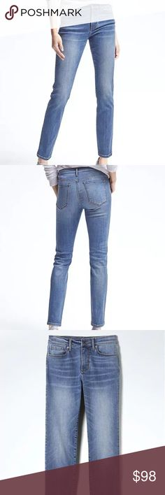 """Slim Straight-Fit Light Wash Sculpt Jean Mid rise. Straight through the hip and thigh Inseams: 29 1/2"""" Size: 29=8  DETAILS Color: Light wash Premium Denim: Figure-transforming fit. Unsurpassed recovery. Body conforming stretch Zip fly with button closure. Belt loops Traditional five-pocket styling Our denim is made under strict guidelines to ensure that the water used in washing and dyeing is safe and clean before it is released into the environment  FABRIC 80% Cotton, 13% Polyester, 5%…"""