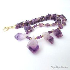 New Design! Amethyst Necklace - Purple Gemstones, Gold Filled Beads and Handmade Gold Filled Clasp handcrafted in Maine by RoughMagicCreations