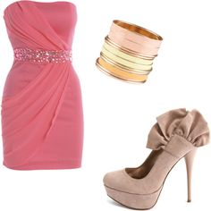 Pretty pink dress paired with super cute nude heels & bangle bracelets.