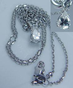 Lolo co lauren g adams 14k ss numbered smokey quartz diamonds estate 14k white gold 75ct pear cut diamond solitaire pendant chain necklace aloadofball Gallery