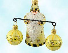 Balance - Jeweled Bees, Patricia Breen Christmas Ornaments, 2007, 2702, Santa, Yellow bumblebees, Mint With Tag