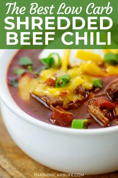 This low carb Shredded Beef Chili is thick, hearty, and packed with beef and loads of chili spice. This recipe is a riff on my contest winning keto chili so you know it's going to be good! Lowcarbchili #ketochili Low Carb Dinner Recipes, Lunch Recipes, Beef Recipes, Soup Recipes, Diabetic Recipes, Low Fat Low Carb, Low Carb Pizza, Low Carb Diet, Paleo
