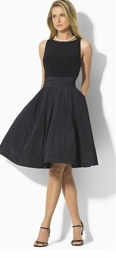 "Lauren by Ralph Lauren ""Yuko"" Sleeveless Dress - pairing sleek matte jersey at the bodice with a lustrous pleated taffeta skirt, the ""Yuko"" is finished with a chic scoop neckline and self-tie taffeta sash at the waist."