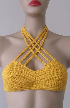 Crochet Bikini Top, Yellow Bikini Top, Women Bikini Top, Swimwear Beach Wear 2015 Summer Trends !!! FORMALHOUSE by formalhouse on Etsy (null)