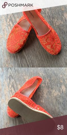 Slip on shoes Bright red-orange slip on Merona shoes. If you're going on a cruise? Then you can't lose!! Shoes Espadrilles