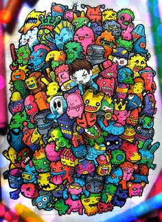 Doodles Illustrations – Student in Art, Filipino Lei Melendres offers beautiful designs that he makes in these books. Doodle Monster, Cool Doodles, Kawaii Doodles, Doodle Art Drawing, Art Drawings, Doodle Doodle, Simple Drawings, Graffiti Art, Vexx Art