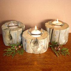 Driftwood Candle Holder Set by woodswise on Etsy