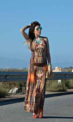 #long #dress #hippie #look #salinas #SantaPola #LidiaBedman #RayBan ·Aviator #Pregnant #shoes #xti http://www.lidiabedman.com/2013/08/long-dress-vestido-largo.html