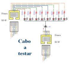 Diagrama esquemático do testador de cabos Rj 45