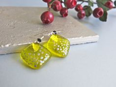 Yellow Transparent Fused Glass Earrings by Glassimo on Etsy