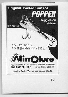 1976 Vintage Ad Original MIRROLURE Surface Popper Fishing Lures Largo FL   eBay