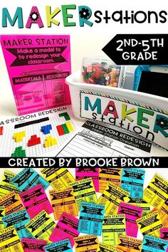 Looking for an Elementary Makerspace without the SPACE? Maker Stations provide targeted design thinking and space-saving solutions for elementary classrooms and media centers, emphasizing skills in engineering, art, math, science, technology, and music. 40 Maker Station options are provided with supply lists, instructions, QR code resources, and student planning/reflection templates.