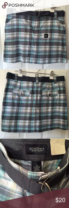 Plaid Skort by Sonoma Skort Navy White Aqua & Yellow Plaid with Belt Zip up Front Pockets Back Pockets with Button Flaps Shorts Underneath NWT Size 12 100% Cotton Sonoma Sonoma Shorts Skorts