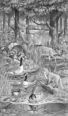 black and white sketch of a group of various animals