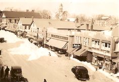 snow scene 1930's   Center Street Middleborough, MA Snow Scenes, My Town, Main Street, Massachusetts, Usa, History, Places, Outdoor, Outdoors