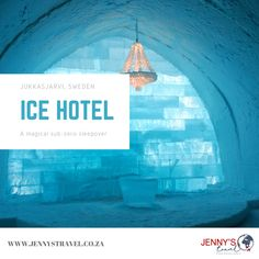 Even though your house might be feeling like an icehotel by now #winterishere, we thought to show you the real mcCoy of ice hotels. Swedish Lapland's Icehotel situated in Jukkasjarvi, is a magical sub-zero sleepover! Imagine Narnia, Frozen and Sleeping Beauty combined to form a hotel and you'll be close to picturing the Icehotel.   Could the Icehotel be your next travel destination when lockdown is over? Contact us for more info on info@jennystravel.co.za or 012 347 8891. Travel Specials, Ice Hotel, Winter Is Here, Narnia, Sleepover, Travel Destinations, Sleeping Beauty, Zero, Frozen