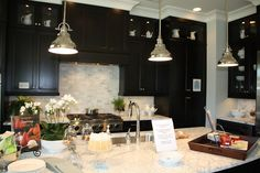 Beautiful countertop on dark cabinets Charlotte Home Tour: My Favorite Ideas - Emily A. Espresso Kitchen Cabinets, Dark Cabinets, Kitchen Cabinet Colors, Home Decor Inspiration, Kitchen Inspiration, Decor Ideas, Coastal Living, My Dream Home, House Tours