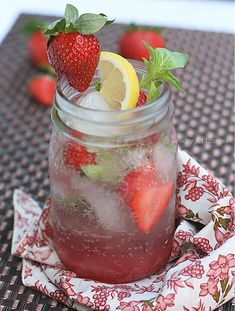 Strawberry Basil Mojito, Recipe is alcohol free.... but Im probably going to ignore that