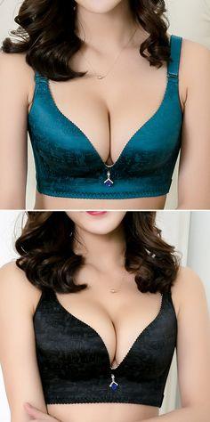 US$14.44 Women Sexy V Wireless Push Up Seamless Adjustable Gather Bras