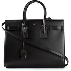 Saint Laurent small 'Sac de Jour' tote (12.280 RON) ❤ liked on Polyvore featuring bags, handbags, tote bags, black, black purse, leather tote, genuine leather handbags, black leather tote bag und real leather tote